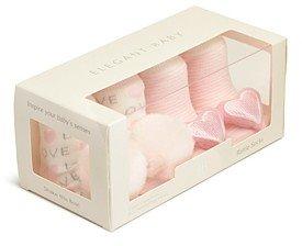 Elegant Baby Girls' Pom-Pom & Heart Rattle Socks, Set of 2 - Baby
