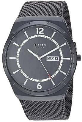Skagen Melbye Three-Hand Watch (SKW6007 Titanium Gray Stainless Steel Mesh) Analog Watches