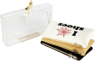 Charlotte Olympia Pandora Loves Shoes Perspex Clutch & Pouch Set