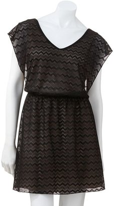 Speechless lace chevron dress - juniors
