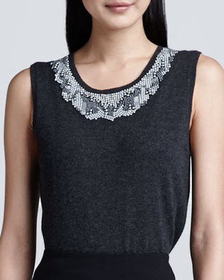 Magaschoni Beaded-Neck Cashmere Top