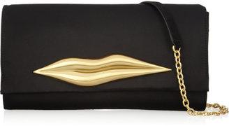 Diane von Furstenberg Carolina lips-embellished satin clutch