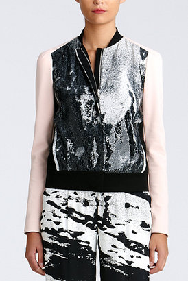 Diane von Furstenberg Anniemae Sequin Jacket In Water Fields/ Pink