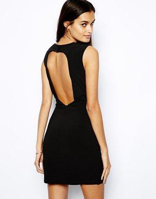 Glamorous Shift Dress with Open Back - Black