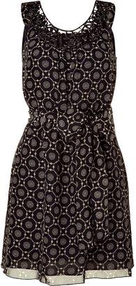 Anna Sui Black and cream smocked waist dress with belt