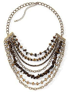 JCPenney Gold-Tone Multi-Row Beaded Necklace