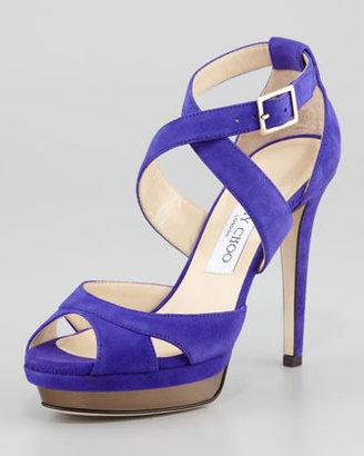 Jimmy Choo Kuki Suede Platform Sandal, Violet