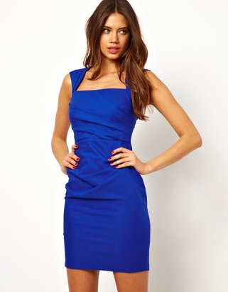 Lipsy Pleated Pencil Dress with Square Neck - Blue