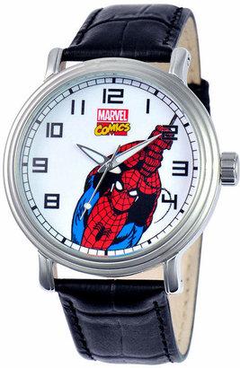Marvel Disney Vintage Mens Spiderman Black Leather Strap Watch