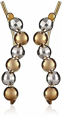 The Ear Pin 10k White and Yellow Gold Beaded Earrings