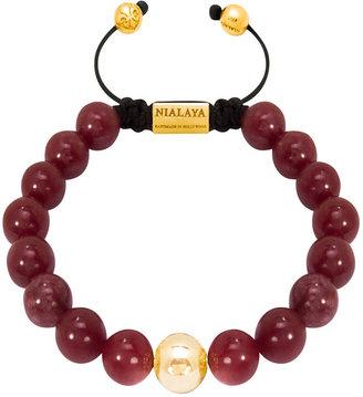 Nialaya Jewelry - Men'S Classic Gold & Red Jade