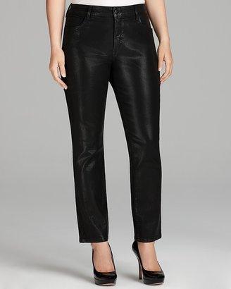 NYDJ Plus Sheri Coated Skinny Jeans in Black