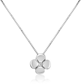 Forzieri 0.15 ct Diamond Flower Pendant 18K Gold Necklace