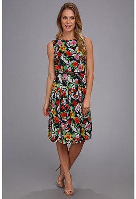 Jones New York Sleeveless Pleated Boat Neck Dress