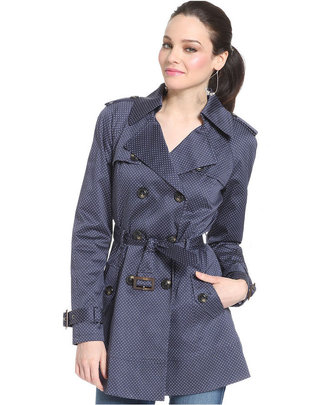 GUESS Jacket, Polka-Dot Print Double-Breasted Trench
