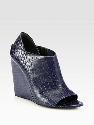 Alexander Wang Alla Crocodile-Print Leather Wedge Bootie