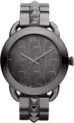 Karl Lagerfeld Women's Gunmetal Ion-Plated Stainless Steel Studded Bracelet Watch 40mm KL2202