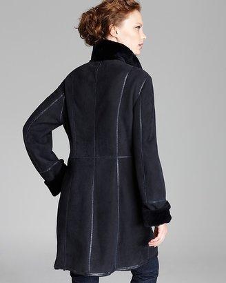 Maximilian Lamb Shearling Coat with Leather Trim