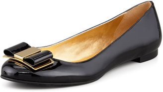 Kate Spade Trophy Bow Patent Leather Flat, Black