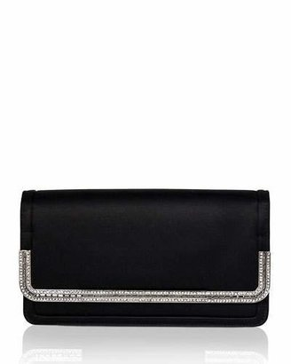 Judith Leiber Couture Lenox Satin Crystal-Trim Clutch Bag, Black $1,995 thestylecure.com