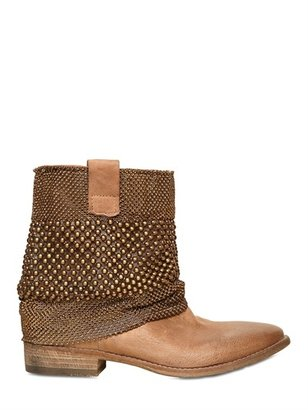 Strategia 30mm Golden Leather Studded Low Boots