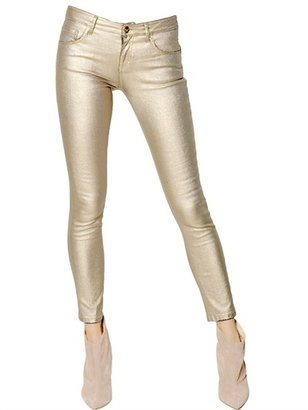 Blumarine Waxed Stretch Cotton Denim Jeans