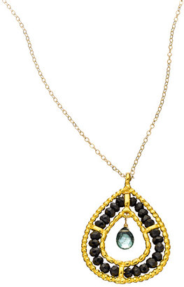Wendy Mink Black and Green Tear Drop Necklace