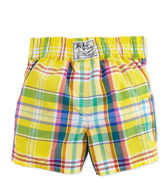 Ralph Lauren Tulum Plaid Swim Trunks, Yellow, Toddler Boys' 2T-3T