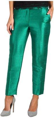 Halston Dupioni Cropped Pant (Emerald) - Apparel