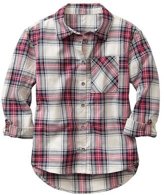 Gap Convertible plaid hi-lo shirt