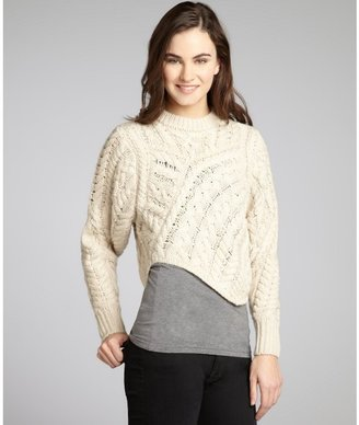 Isabel Marant ecru cable knit wool asymmetrical cropped sweater