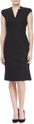 Zac Posen Cap Sleeve V-Neck Day Dress, Black