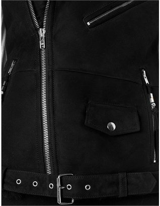BLK DNM Black Shearling Biker Vest