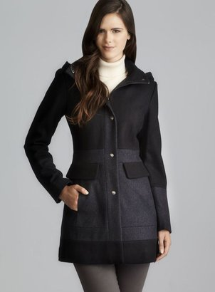 GUESS Charcoal & Black Button Down Coat With Detachable Hood