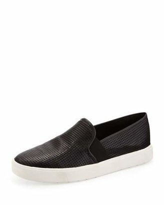 Vince Blair Perforated Slip-On Sneaker, Black $195 thestylecure.com