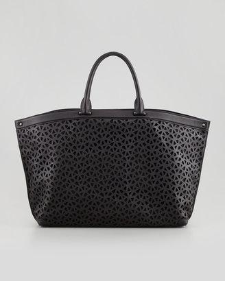 Akris Ai Laser-Cut Leather Medium Tote, Black
