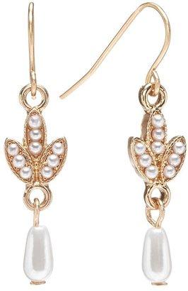 Lauren Conrad gold tone simulated pearl drop earrings