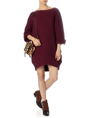 Chalayan Oxblood Cup Sleeve Jumper Dress
