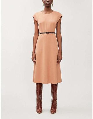 Max Mara Rosanna capped-sleeve stretch-wool midi dress