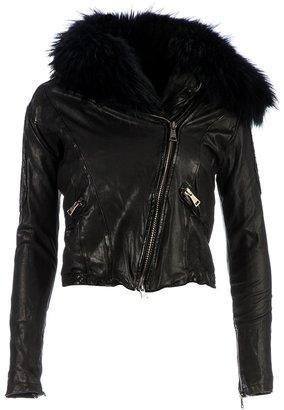 Giorgio Brato fox fur collar leather jacket