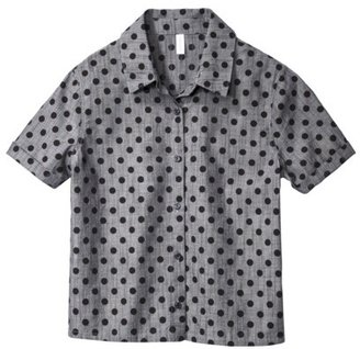 Xhilaration Junior's Polka Dot Button Down Shirt - Chambray