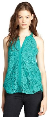 Gemma emerald lace sleeveless button front blouse