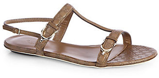 Gucci GG Leather T-Strap Sandals