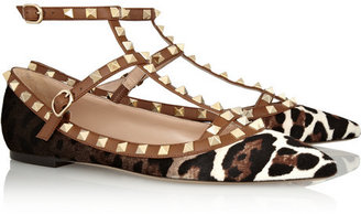 Valentino Rockstud leather and leopard-print calf hair point-toe flats