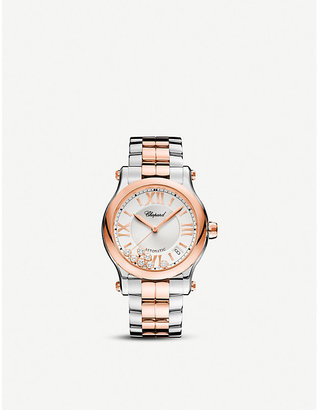 Chopard Women's Stainless Steel Happy Sport Automatic 18ct Rose-Gold, And Diamond Watch, Size: Medium