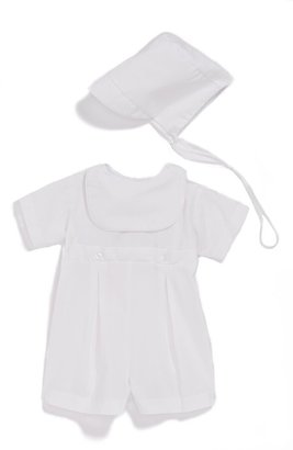 Little Things Mean a Lot Bib Front Christening Romper and Bonnet Set