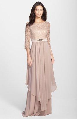 Women's Eliza J Embellished Lace & Chiffon Gown $228 thestylecure.com