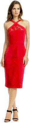 Cushnie et Ochs Red Venomous Lace Dress