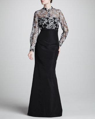 Carolina Herrera Mrs. H Lace-Top Gown