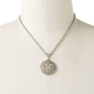 1928 Silver Tone Crystal Filigree Circle Pendant